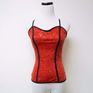 Balera red sequins dance tank top . USA made